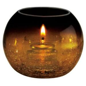 Amber Glass Sphere Liquid Candle Holder with Crackle Base Finish *RESTAURANT EQUIPMENT PARTS SMALLWARES HOODS AND MORE*