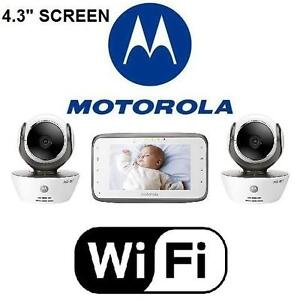 USED MOTOROLA WIFI BABY MONITOR WIFI VIDEO BABY MONITOR DUAL CAMERAS AND 4.3 INCH COLOR SCREEN 107293214