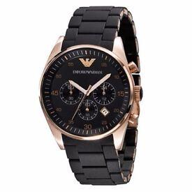 Brand New Emporio Armani AR5905 Black Rose Gold Chronograph Men's Watch