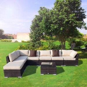 8 pcs Outdoor Rattan Wicker Patio Set / Patio Furniture Backyard Garden furniture