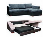 BRAND NEW FABRIC CORNER STORAGE SOFA BED, DOUBLE SIZE SLEEPING AREA OTTOMAN STORAGE SPACE SETTEE