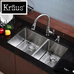 NEW* KRAUS UNDERMOUNT KITCHEN SINK - 122748149 - STAINLESS STEEL 60/40 DOUBLE BOWL 33""