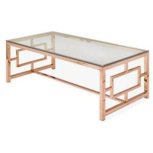 GLASS TOP COFFEE TABLE W/ ROSE GOLD BASE!LOWEST PRICE IN TORONTO