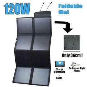 12V 120W Black Silicon Solar Panel Foldable Generator Power mat Wangara Wanneroo Area Preview