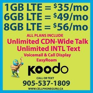 $56 8GB LTE + Unlimited Canada-Wide Talk & Text ~ CellPhoneGuru.ca Plans By Cell Phone Guru