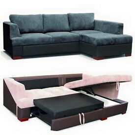 *7-DAYS MONEY BACK GUARANTEE* Corded Chenille Fabric Corner Sofa Bed Settee in Black Grey Double Bed