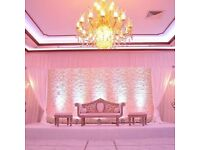 Mandap Style Pillars Hire £95 Black Table Cloth Hire Chair Decorations 79p Indian Caterer London £15