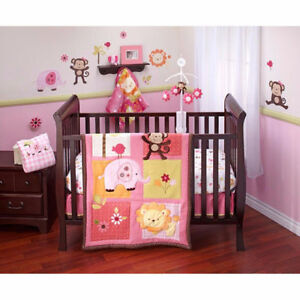 Jungle Themed Crib Bedding for a Girl - EUC