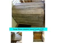 Vintage Dome chest , shabby chic travel trunk REDUCED