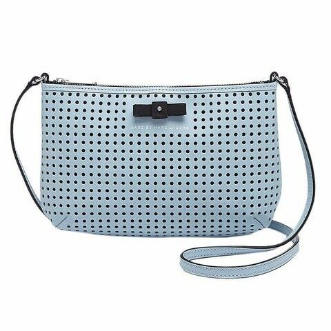 MARC BY MARC JACOBS SOPHISTICATO BOW PERF SMALL CROSSBODY FADED BLUE LEATHER BAG