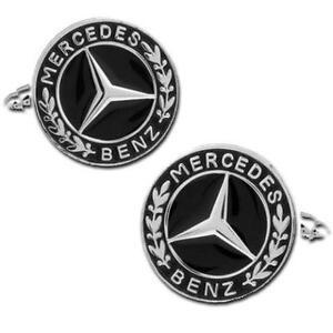 Luxury Mercedes Benz Silver & Black Enamel Cufflinks
