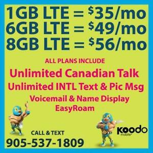 KOODO 6GB LTE $49/mo, 8GB LTE $56/mo + Unlimited CAD Talk & INTL Text  ~ Plans By CellPhoneGuru