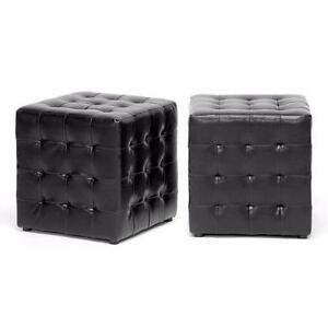 Like New, Set of 2 Baxton Studio Modern Cube Ottoman - Black *PickupOnly