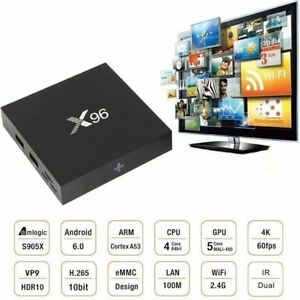 Streaming Media Box X96 Tv Movies Sports Xbmc/Kodi 17.6 Android