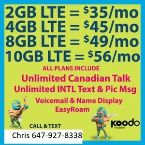 Koodo 10GB/8/6/4/2 LTE data plan Unl Talk/Text