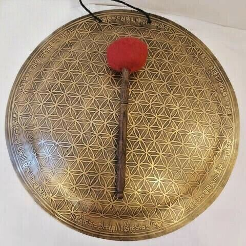 20 inches Diameter flower of life carved gong-Temple gong-handmade in Nepal