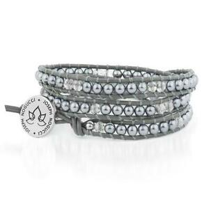 50% OFF All Jewellery - Starry Night Hematite & Blue Crystal   Leather Wrap   Stone LotusBracelet