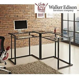 "NEW WE BLACK CORNER COMPUTER DESK WALKER EDISON FURNITURE 56"" BLACK CORNER COMPUTER DESK 105107778"