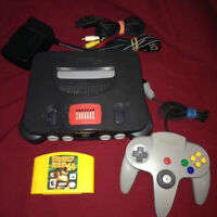 Nintendo 64 N64 with red top expension pak Donkey Kong 64 ect