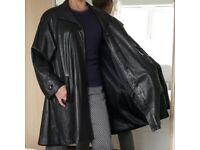 Black leather, ladies 1990's Vintage style swing cut coat. Generous cut, using soft genuine leather.