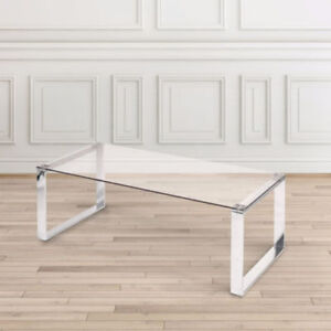 Brand New Tempered Glass Coffee Table With Stainless Steel Legs