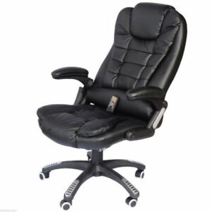 Luxury Heated Massage Office Chair / Executive Leather w/ remote
