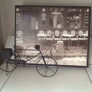 Paris cafe framed print and stand alone bicycle