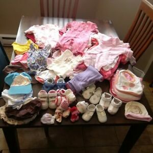 range of girl baby clothes: 0-3 months, and 3-6 months