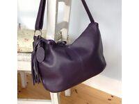 Purple Italian leather handbag