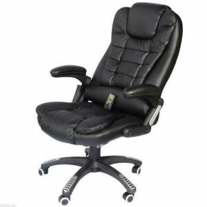 Luxury Heated Massage Office Chair / Genuine Leather w/ remote