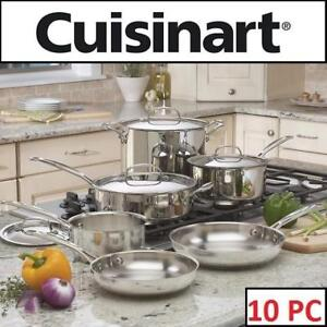 NEW 10PC CUISINART COOKWARE SET 77-10C 202301644 STAINLESS STEEL - CLASSIC COLLECTION