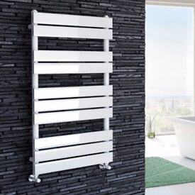 1000x600mm White Flat Panel Ladder Towel Radiator