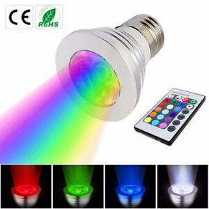 Colorful 3W E27/ LED RGB Light Bulb Lamp Spotlight & Remote Cont