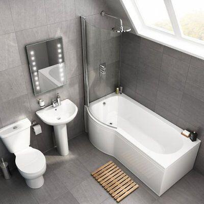NEW P Shape Shower Bath Bathroom Suite with Left Right Hand Bath