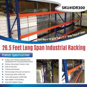 NEW 26.5 FT GARAGE WAREHOUSE SHELVING STORAGE RACKING