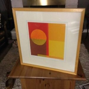 yellow/orange designer framed picture