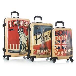 "Heys Vintage Traveller-Paris, London & New York-3pc Set 21"", 26"""