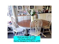 Country kitchen oval table & 4 or 6 chairs