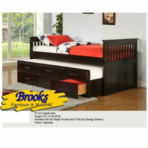 Solid Wood Captains Bed with Pull out Trundle Bed ***BRAND NEW**