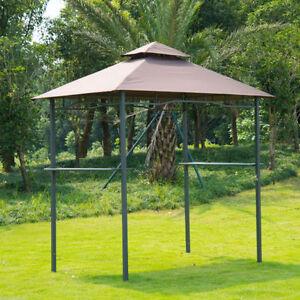 Brown 8' x 5' Garden  Patio Backyard BBQ Gazebo Canopy Tent