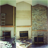 Brick and Stone your FIREPLACE! 3D wall MAKEOVER!