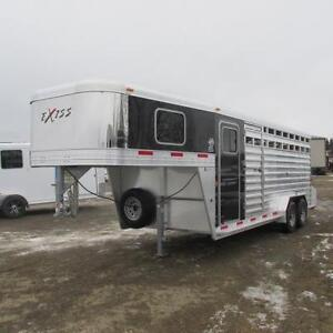 2017 Exiss 20 Ft. Stock Combo Gooseneck Trailer w. Mats & Spare