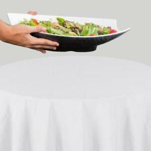 72 Round White 100% Polyester Hemmed Cloth Table Cover *RESTAURANT EQUIPMENT PARTS SMALLWARES HOODS AND MORE*