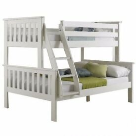 Brand New white Wooden Triple Sleepers Bunk Bed with Fast Free Delivery