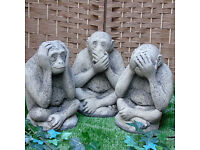 Stone Wise Monkeys in Reconstituted Limestone - Set of 3