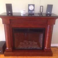Electric Fireplace with black Granite Top