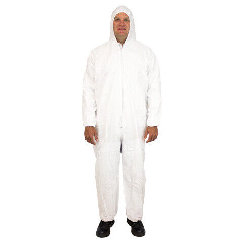 25 Pack - White Microporous Coveralls w/ Hood, Elastic Wrists & Ankles (Medium)