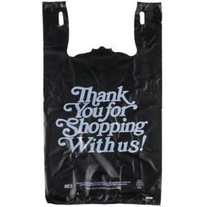 Black Thank You Heavy-Duty Plastic T-Shirt Bag - 400/Case  *RESTAURANT EQUIPMENT PARTS SMALLWARES HOODS AND MORE*