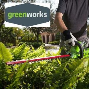 "NEW CORDLESS HEDGE TRIMMER 22"" 22232 209378398 GREENWORKS  24V 2.0 AH BATTERY INCLUDED"