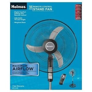 """Holmes® Stand Fan, 18"""" with remote, Black"""